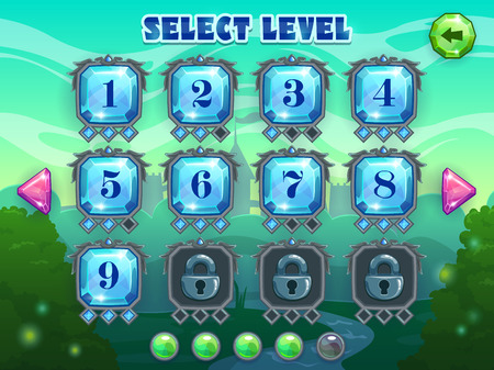 Level selection screen, vector game ui assets on fantasy landscape background