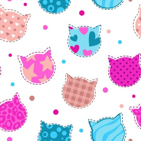 Seamless girlish pattern with cute cats silhouettes, vector endless illustration
