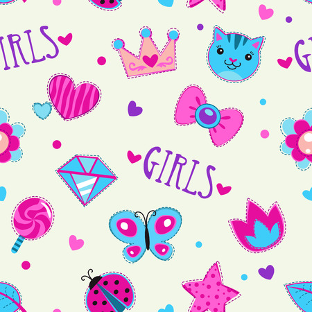 Cute girlish seamless pattern with funny doodle elements, vector texture