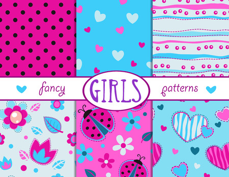 Cute girlish seamless patterns set, vector textures collection