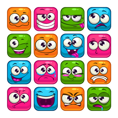 character set: Funny colorful square faces set, cartoon vector avatars