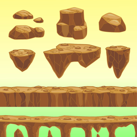 Funny cartoon stones, seamless bridge and road elements for game design, vector assets