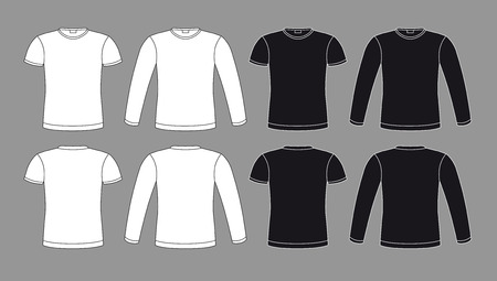 long sleeve: T-shirts icons in black and white colors, vector isolated clothes elements