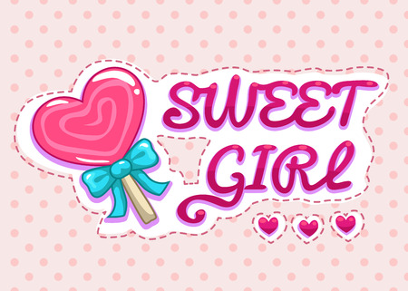 Sweet girl illustration, cute girlish  vector template for t-shirts print