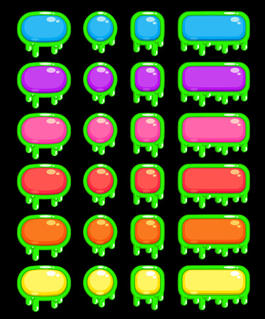 slimy: Funny slimy colorful buttons set, isolated vector elements for web or game design Illustration