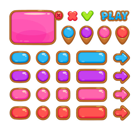 board games: Cute vector user interface for web or game design including panel, map pointers and different buttons