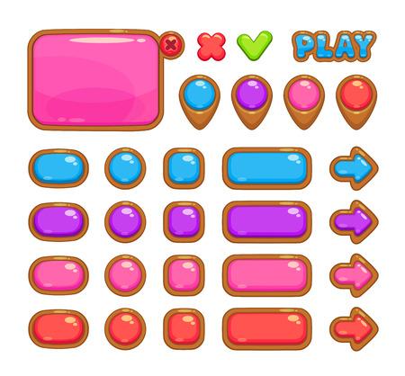 jeu: interface utilisateur de vecteur mignon pour la conception web ou jeu y compris le panneau, carte pointeurs et diff�rents boutons Illustration