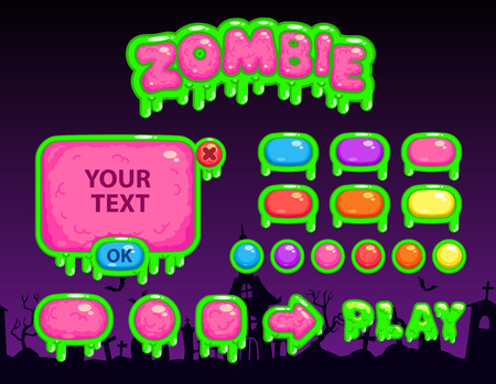 Cartoon zombie user interface, vector game assets