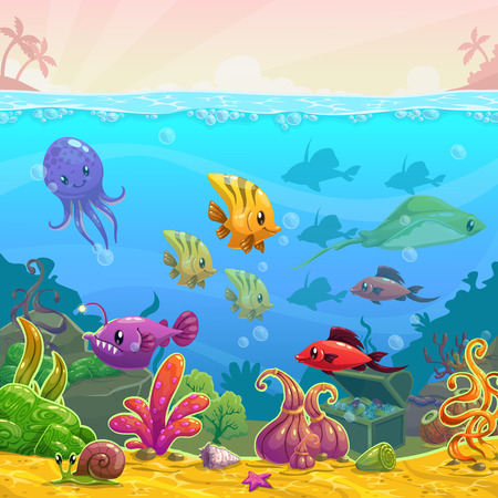 Funny cartoon vector underwater illustration with sea animals, square size