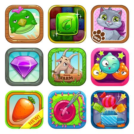 gibier: Ensemble d'icônes de jeu app store, illustration vectorielle