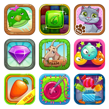 Set of app store game icons, vector illustration