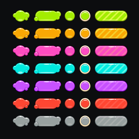 user: Set of fancy bright colorful buttons on the dark background
