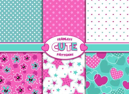 trendy girl: Set of cute girlish vector seamless pattern