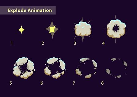 연기 효과 애니메이션을 분해. 만화 폭발 프레임