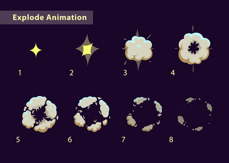 Ontploffen effect animatie met rook. Explosie cartoon frames