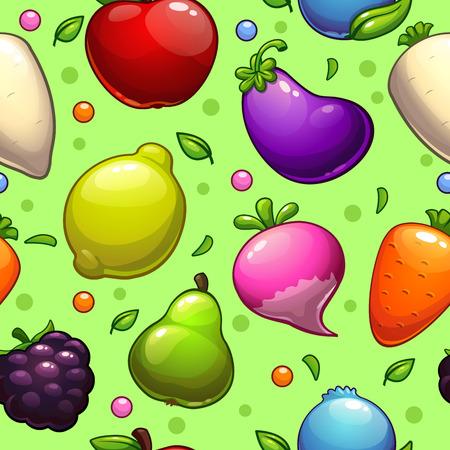 zanahoria caricatura: Modelo incons�til con las frutas frescas brillantes y verduras
