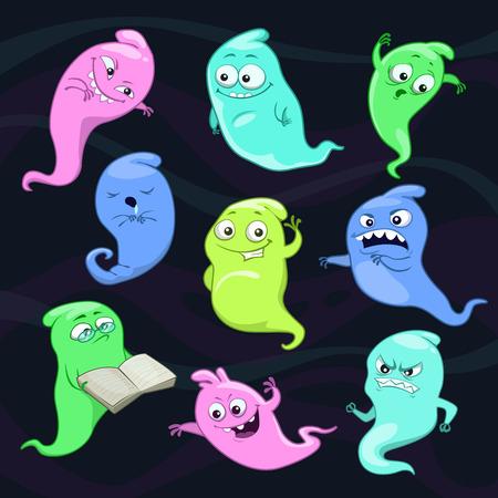 character cartoon: Set of cartoon vector ghosts on dark background Illustration