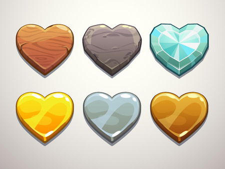 Set of wooden, stone, diamond,golden, silver and bronze hearts