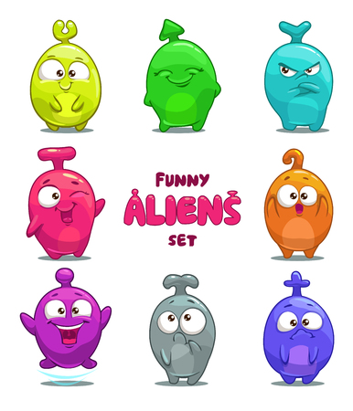 children face: Funny cartoon colorful aliens, vector isolated characters
