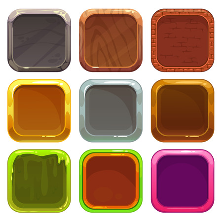 Set of square app icons, vector frames isolated on white background, elements for game or web design Vettoriali