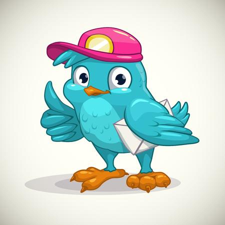pajaro caricatura: pájaro azul de dibujos animados divertido con letra, ilustración vectorial Vectores