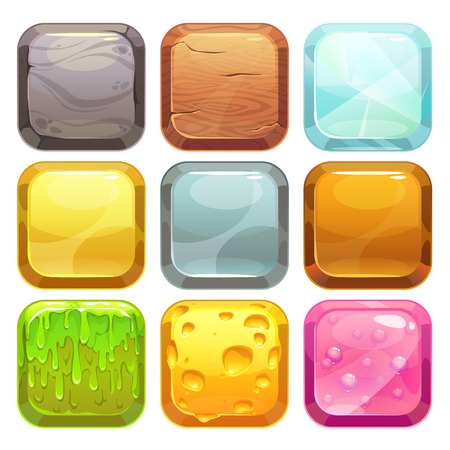 game design: Cartoon square buttons set, app icons with different textures, isolated on white