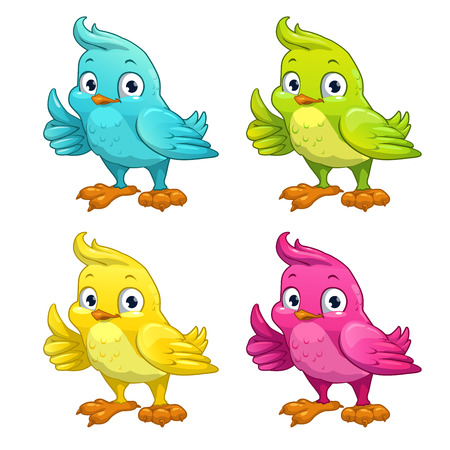 wings icon: Funny cartoon vector bird