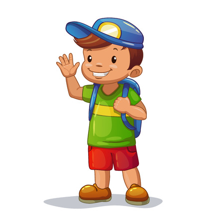 greet: Funny cartoon little boy with school bag is waving his hand, isolated vector