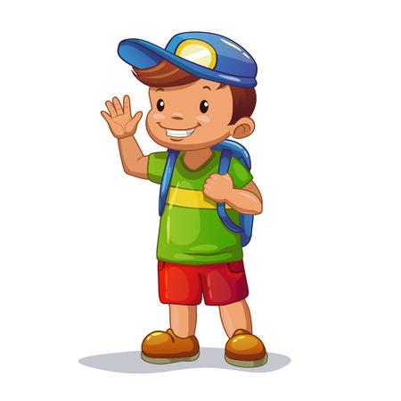 pequeño: Niño divertido de la historieta con la bolsa de la escuela está agitando su mano, aislado vector