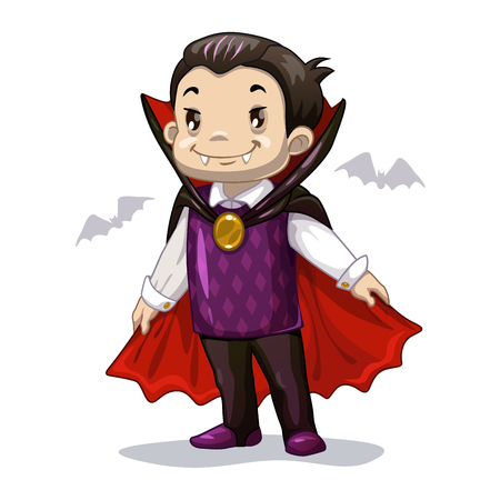 Funny cartoon little vampire, boy wearing Halloween costume, vector illustration