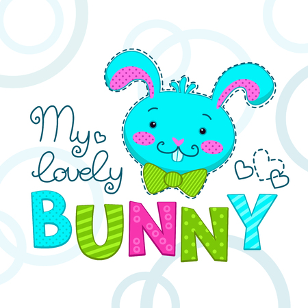 tshirts: Funny childish illustration with bunny face, vector template for t-shirts design