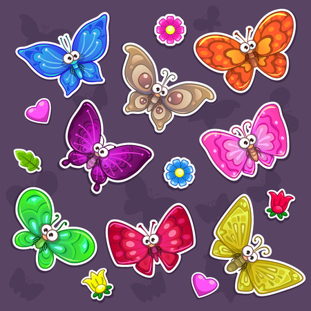Funny cartoon butterflies stickers set, vector collection