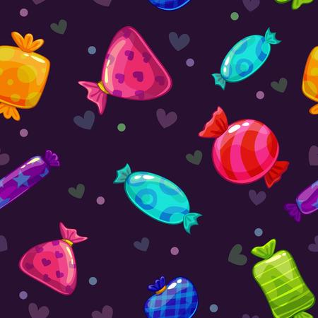 golosinas: Modelo inconsútil con los caramelos brillantes dibujos animados sobre fondo oscuro