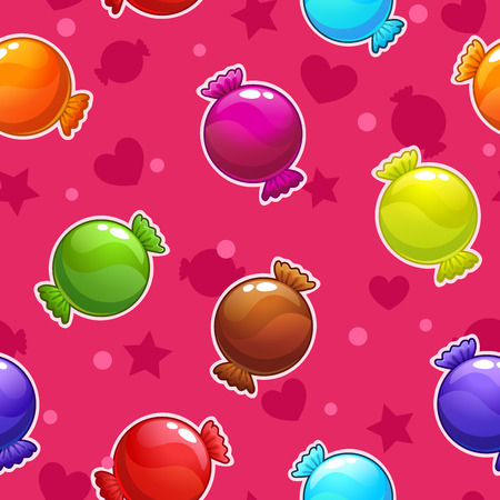 Seamless pattern with cartoon colorful candies, vector sweets texture