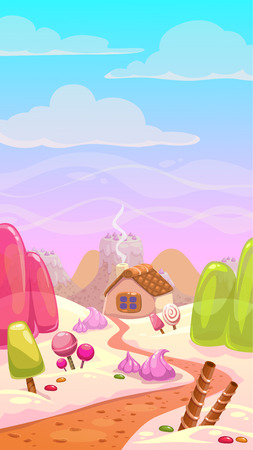 lands: Candy world illustration, vector landscape with sweet elements, vertical background Illustration