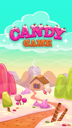 Cartoon vector candy world illustration with title inscription, vertical format for mobile phone screen 向量圖像