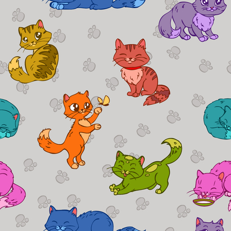 clipping mask: Seamless pattern with cute colorful hand drawn cats Illustration