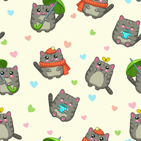 cats playing: Seamless pattern with cute cartoon grey cats and hearts on light background, funny vector texture