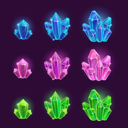 魔法漫画光沢のある結晶セット  イラスト・ベクター素材