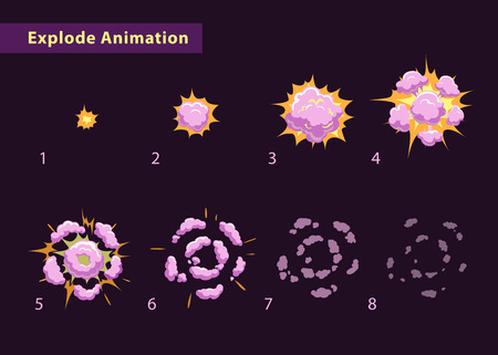 game: Explode effect animation with smoke. Cartoon explosion frames