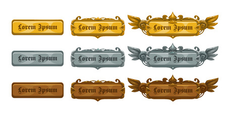 rank: Golden, silver and bronze game templates, isolated vector elements