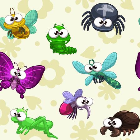 animales del zoo: Patrón sin fisuras con los insectos de dibujos animados divertidos, vector textura infantil