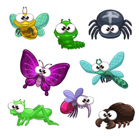 Funny cartoon vector insects set, isolated on white Illustration