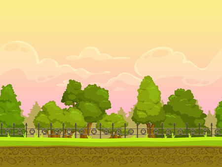 Seamless cartoon park landscape, endless illustration with separated layers for parallax effect Illustration