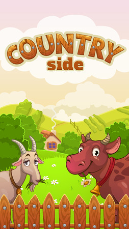 homestead: Cartoon countryside landscape with funny cow and goat, vector illustration