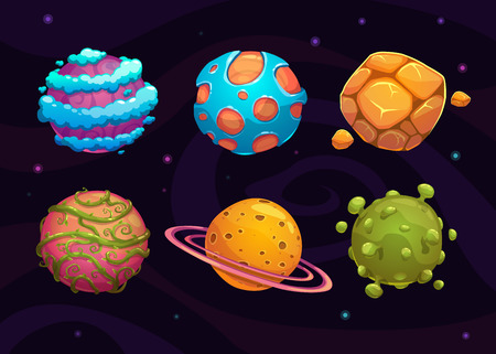 Set of cartoon fantasy planet on space background