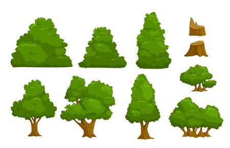 Elementos del vector de la naturaleza establecidas, árboles de la historieta aislados y arbustos