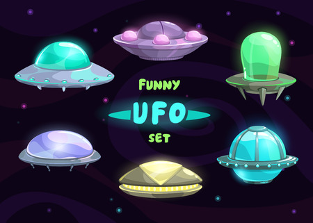 stars cartoon: Cartoon fantastic ufo set, vector space collection