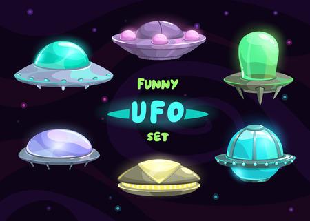 space ship: Cartoon fantastic ufo set, vector space collection