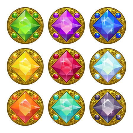 golden coins: Vector colorful round golden amulets with diamonds, isolated elements